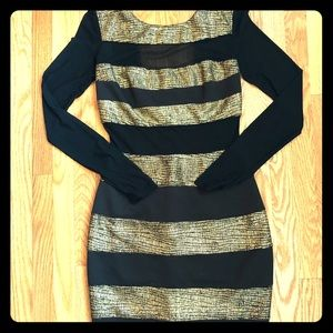 Urban Outfitters Black and Gold Stripped Dress